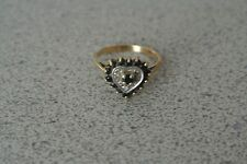 Vintage 10k Yellow Gold Blue Sapphire Heart Shaped Women's Ring Size 6/6.5