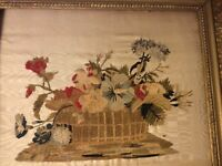 Antique 1835 Embroidery on Silk Needlework Chenille Hand Work Gilt Frame French