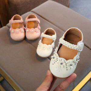 New Toddler Baby Girls Soft Sole Princess Flower Leather Single Shoes 0-4Y Cute