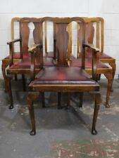 Leather Queen Anne Antique Chairs