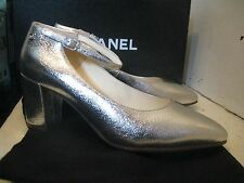 Chanel 16S G32050 Silver Mary Jane Pumps with strap black heel shoes 37.5
