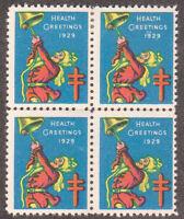 USA Christmas Seals Health Greetings 1929 Block of 4 MINT LH