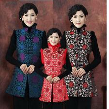 new red Charming Chinese Women's silk/satin waistcoat vests blue Sz: M-4XL