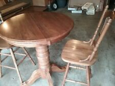 "VINTAGE 36"" ROUND OAK PEDESTAL HIGH TABLE PLUS 2 MATCHING OAK BAR CHAIRS"