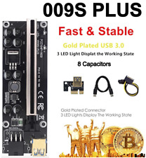 More details for ver009s plus pci-e riser card pcie 8 capacitors leds 1 to 16 usb 3.0 cable gold