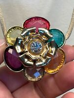 Vtg Gold Colorful Flower Necklace Glass rhinestone Pendant Leather Chain