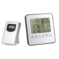 Wireless Weather Clock LCD Digital Thermometer Hygrometer Alarm Home Office Q9Q9