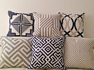 """Geometric Aztec Linen Cotton Navy Grey Embroidery Cushion Cover Home Decor 18"""""""
