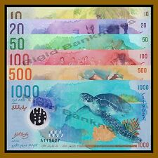 Maldives 10 20 50 100 500 1000 Rufiyaa (6 Pcs Set), 2015/2016 P-New Polymer Unc