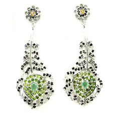 Natural Emerald Chrome Diopside Sapphire Spinel 925 Silver FEATHER DROP Earrings
