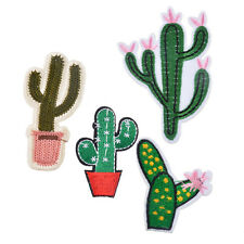 4pcs Cactus Embroidery Iron sew on patch applique Hat Motif For clothing badge