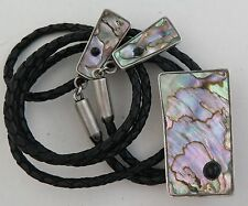 Exotic Sterling Silver Large Abalone Inlay Bolo Tie w/ Dangling Silver Tips