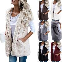 Women Sherpa Hooded Waistcoat Fleece Vest Gilet Sleeveless Coat Jacket Outerwear
