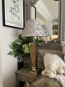 Designer HUGE Statement Silver Metal Table Lamp & Grey Shade