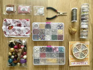 Jewellery Making Joblot , MANY Beads , Tools & Accessories