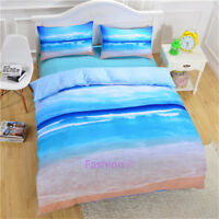 Single/Double/Queen/King Size Bed Quilt/Doona/Duvet Cover Set Blue Sea Beach