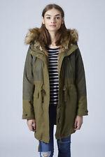 TOPSHOP khaki green faux hood trim long wax parka coat jacket UK 8 10 quilted
