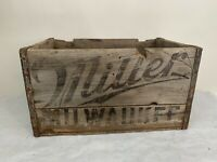 Vintage MILLER BREWING MILWAUKEE DATE 1933 WISCONSIN WI SIGN Wood Box Beer Crate