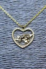 Heart Necklace Love Birds Pendant Elegant Cubic Zirconia Crystal St NickAngelo's