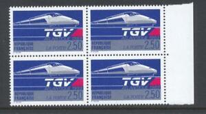 France 1989 SG 2900 TGV Train Railway block of 4  MNH