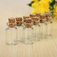 SMALL CORK STOPPER MINI GLASS BOTTLES CLEAR EMPTY JARS VIALS PENDANTS UK
