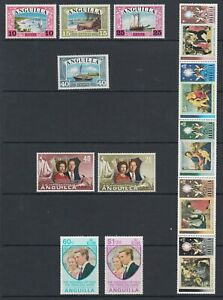 Anguilla Sc 32-35, 161-162, 179-180,186b MNH. 1968-1973 issues, 4 cplt sets, VF.