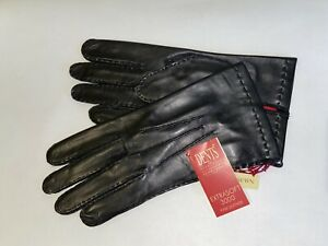 Genuine Dents handsewn leather gloves - Red silk lined Black leather - Kingston