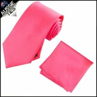Hot Pink Mens Tie with Matching Pocket Square Handkerchief Hanky Napkin