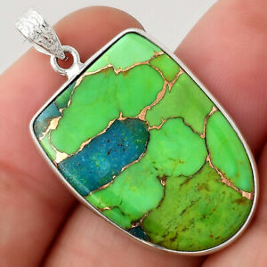Blue Turquoise In Green Mohave - USA 925 Sterling Silver Pendant Jewelry 1736