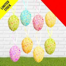 8 Hanging Foam Sparkle Eggs x 5cm Easter Tree Basket Party Decoration