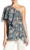 Haute Hippie 156373 Women's One Shoulder Ruffle Floral Blouse Sage Green Sz. M