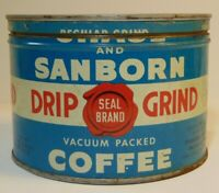 Vintage 1930s CHASE SANBORN COFFEE KEYWIND COFFEE TIN CAN 1 POUND NEW YORK USA