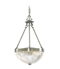 LED Hanging Light Brass Grooved Glass Antique Brass Ceiling Light Lamp New
