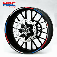 HRC Honda motorcycle wheel decals 12 rim stickers set cbr 1000rr 600rr red white