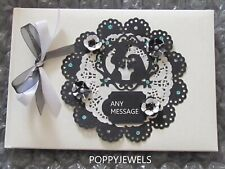 GOTH WEDDING PARTY GUEST BOOK BLACK/WHITE PERSONALISED  {IN PRESENTATION BOX}