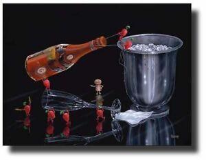 "Michael Godard-""PREPARE PERFECT POUR""-Cristal Champagne-Art *SHOW SIGNED*"