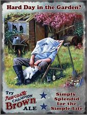 Newcastle Brown Ale Hard Day in the Garden Small Metal Tin Sign, picture, plaque