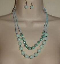My Style Blue/Green Beaded Necklace / Pierced Earrings Set Costume Jewelry New