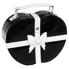 Chic Black & White Heart Jewellery Vanity Case Box With Bow Detail NO GIFT BOX