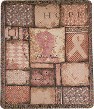 Believe In Miracles ~ Pink Ribbon Breast Cancer Awareness Tapestry Afghan Throw