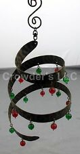 Metal Hanging Beaded Wind Spinner Chimes with Red and Green Beads