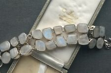 "SILVER MOONSTONE FIERY BRACELET 7-8.5"".  SOLID 925 STERLING"