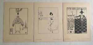 John Jack Vrieslander 1879-1957: 3 original art nouveau lithographs Variété 1901