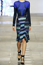 Peter Pilotto Blue Tigerprint Waterfall Hemline Skirts Size UK 12 FR 40