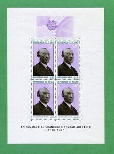 1968 Chad Air Mail Stamp Souvenir Sheet #C42a Mint Chancelier Konrad Adenauer