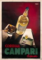 Cordial Campari, 1926 Marcello Nizzoli Art Print Vintage Liquor Bar Poster 38x54