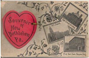 Souvenir of New Bethlehem PA Trapdoor Postcard 1907 16 Foldout Views