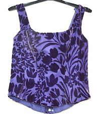 Velvet Fitted Back Laced Corset Top Purple Size 12 Dressy Floral Lined Halloween