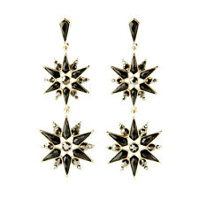 ELEGANT ZARA  BLACK GOLD SNOWFLAKES 3 3/4'' DROP EARRINGS NEW