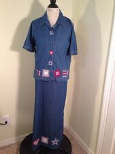 Koret 2 Pc Dress Size Medium w/ Jacket Modest Embroidered Blue Denim Long Teach